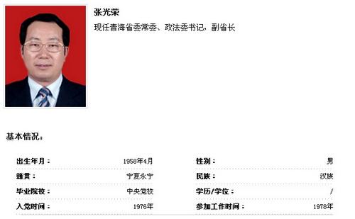 张光荣任青海省委常委、政法委书记(图/简历)--